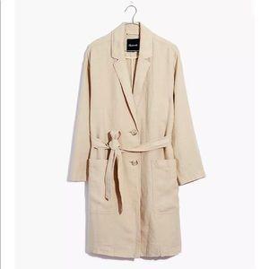 Madewell long belted linen blazer